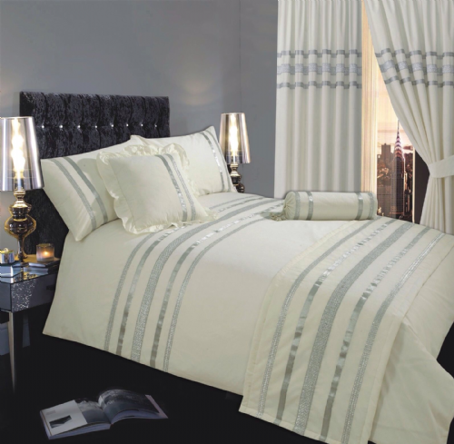 CREAM & SILVER COLOUR STYLISH SEQUIN DUVET COVER LUXURY BEAUTIFUL GLAMOUR SPARKLE EGYPTIAN COTTON BEDDING